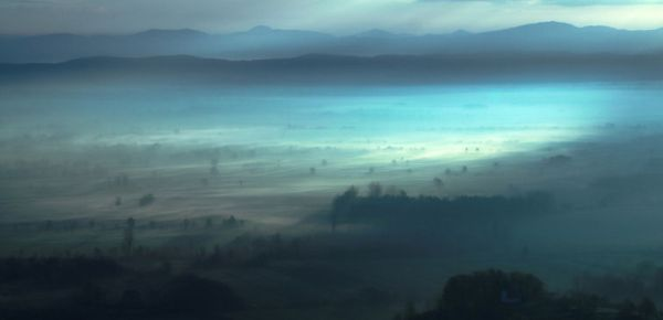 misty blue morning